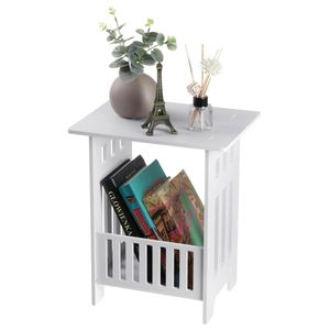 MECO Beistelltisch Tisch Nachttisch Weiß Sofatisch Couchtisch Zeitungsständer Wohnzimmertisch