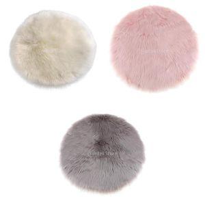 3 Stü Runde 30 Cm Schaffell Haarigen Teppich Faux Matte Fell Plain Flauschigen Bereich Teppich