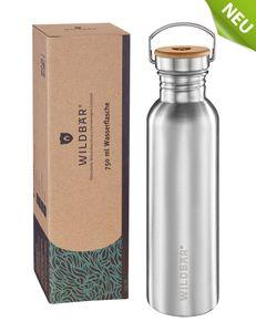 WILDBÄR® ♻️ - NEU - Premium Trinkflasche Edelstahl 750ml, BPA-freie auslaufsichere Wasserflasche mit Bambuseinlage im Deckel, einwandige Edelstahl Trinkflasche für Kinder, Uni, Büro, Camping Zubehör ♻️