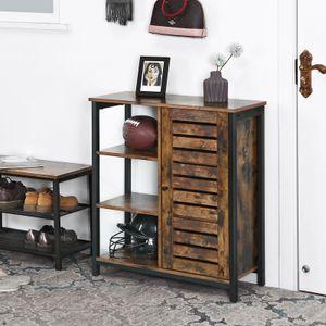 VASAGLE Kommode mit 3 Ablagen   Sideboard 70 x 30 x 81 cm   Flurregal im Industrie-Design   Küchenschrank Vintage LSC74BX