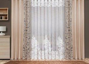 Gardinen Vorhänge Set 3-Tlg. TORA Deko Schals Store Tüll Beige/Puder- weiß