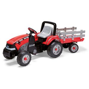 PEG Perego Tret-Traktor Maxi Diesel Tractor mit Anhänger Farbe: rot-schwarz-grau