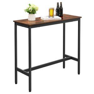 VASAGLE Bartisch, 100 x 40 x 90 cm, Küchentisch, Küchentresen, stabiles Metallgestell, einfacher Aufbau, Industrie-Design, Vintage, dunkelbraun LBT10X