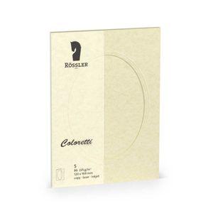 Rössler Papier - - Coloretti-5er Pack PP-Karte B6 oval, Parchm.sandgelb - Liefermenge: 10 Stück