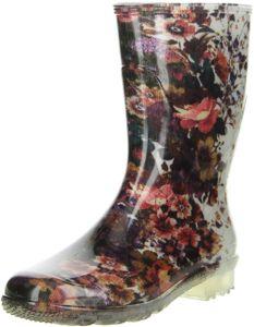 G&G Damen wasserdichte Gummistiefel Regenschuhe Blumen mehrfarbig, Größe:37, Farbe:Mehrfarbig