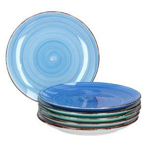 6er Blue Baita Frühstücks/Dessert/Gebäckteller Mediterran Ø18,5cm Teller 6 Blautöne Meer/Ozean