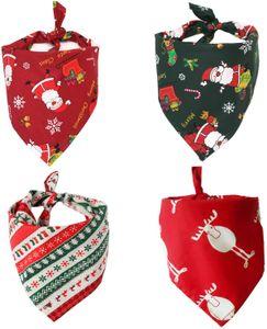 Bandana für Hund, 4 Stück Weihnachten Haustier Halstuch Hundehalstuch für kleine, mittelgroße, große Hunde und Katze