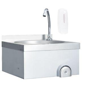 vidaXL Handwaschbecken mit Wasserhahn und Seifenspender Edelstahl