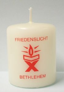 Kerze Friedenslicht aus Bethlehem, christliche Weihnachtskerze, 6 x 5 cm