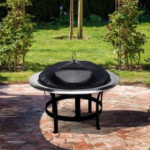 Gardebruk Feuerschale 75cm Edelstahl Garten Outdoor Feuerstelle Funkenschutz Grillfunktion, Größe:Ø 75 cm