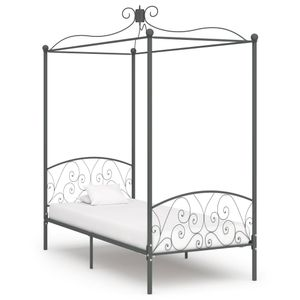 vidaXL Himmelbett-Gestell Grau Metall 90 x 200 cm