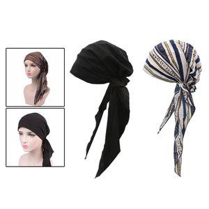2PCS Baumwolle Muslim Frauen Krebs Hut Chemo Cap Haarausfall Kopftuch Turban