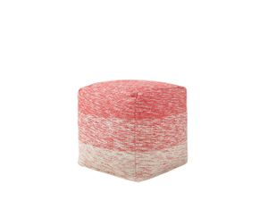 Pouf Hellrot/Beige Baumwolle 40 x 40 cm Quadrat Modern/Elegant
