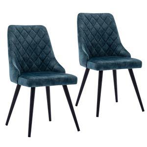 2er Set Esszimmerstuhl Polsterstuhl Stoff Samt Blau Vintage Stuhl Retro Metallbeine