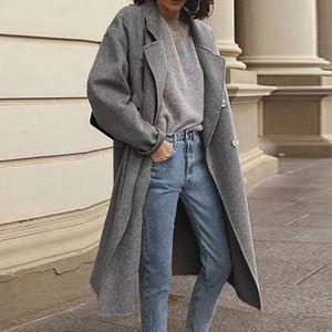 Mode Frauen Solid Trenchcoat Windbreaker Jacke Mantel Zweireiher Mantel Größe:M,Farbe:Grau