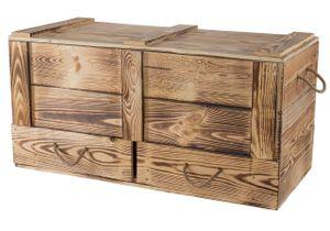 1x Traumhaft rustikale Holztruhe mit Schubladen & Deckel, zwei seitliche Kordeln, auch als Couchtisch / zum Sitzen, neu, 85,5x42x43,5cm