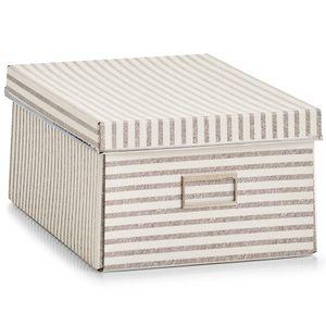Zeller, Aufbewahrungsbox, Streifen, Pappe, Beige