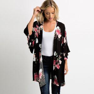 Neue Sommer Frauen Chiffon Kimono Blumendruck 3/4 aermel Strickjacke Boho Beachwear Bikini vertuschen
