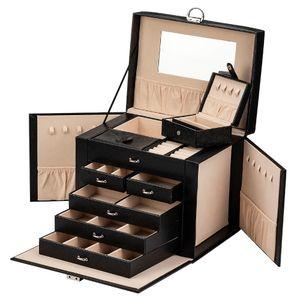 ADEL DREAM   Große Schmuckkoffer, Schmuckkasten, Aufbewahrung, 5 Ebenen, 5 Schubladen, verschließbar(Schwarz)