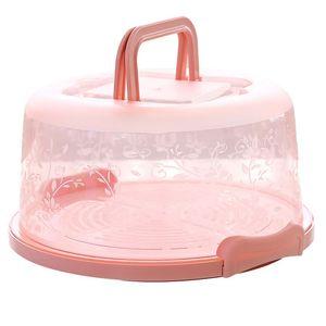 Kuchen Aufbewahrungsbox Kuchenbox Tragbare runde Kunststoff-Handversiegelung