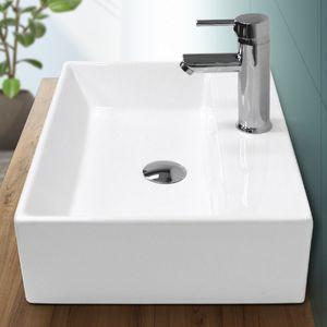 ECD Germany Waschbecken Waschtisch 515 x 360 x 130 mm aus Keramik Eckig Weiß mit Überlauf - Aufsatzbecken Aufsatzwaschbecken Handwaschbecken Aufsatzwaschtisch Spülbecken Becken Wasserfall Waschschale Waschschlüssel