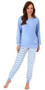 Damen Frottee Pyjama mit Bündchen - Hose gestreift, Top mit Mond und Stern Applikation, Farbe:hellblau, Größe:40/42