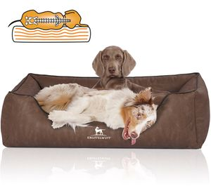 Knuffelwuff Orthopädisches Hundebett Rockland aus Kunstleder XL 105 x 75cm Braun