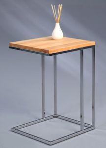 Beistelltisch Odis in braun, grau -  Echtholz, Metall verchromt -  38 x 43 x 62 cm