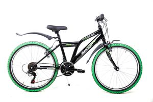 24 Zoll MTB Fahrrad Mountain Bike Fire Flash MTB Shimano 18 Gang schwarz Rh 36cm