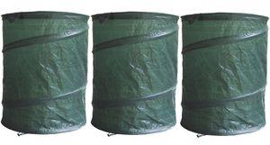3er Set Garten-Abfallsack Pop-Up PE, Laubsack, Rasensack, Gartentasche, 160 L