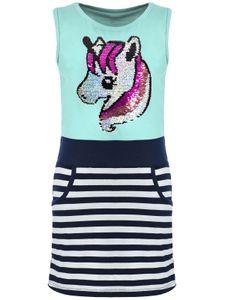 KMISSO Mädchen Sommer Kleid mit Wendepailletten Grün 110