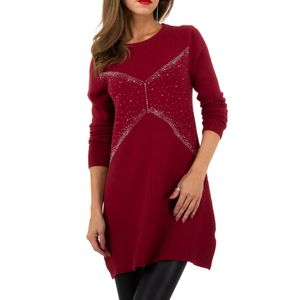 Ital-Design Damen Pullover & Strick Longpullover Weinrot