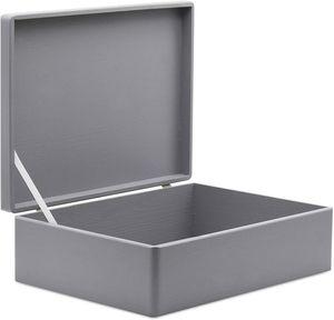 Creative Deco XL Große Graue Holz-Kiste Holzbox mit Deckel Erinnerungsbox | 40 x 30 x 14 cm (+/- 1 cm) | ohne Griffen | Aufbewahrungs-box Spielzeug-kiste Kasten | Ideal für Werkzeuge