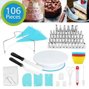 EINFEBEN 106 tlg Tortenplatte Drehbar  Backzubehoer Tortenst?nder Tortenst?nder Spritzt?1llen  Torten Kuchen Tipps Set