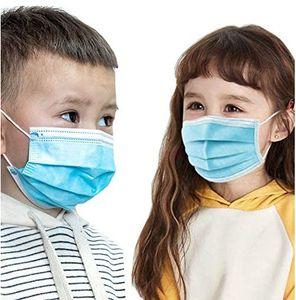 100stk 3-lagige Einwegmaske aus schmelzgeblasenem Stoff für Kinder Ohrhaken mit hoher Elastizität hohe Filtration und Atmungsaktivität(blau)