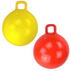 Hüpfball 60cm mit Griff Sprungball gelb oder rot Springball Hopser Ball Kinder, Farbe:rot