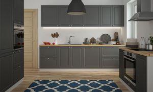Küchenzeile Küchenblock Küche grau / RAL 7022 umbragrau matt lackiert Landhaus