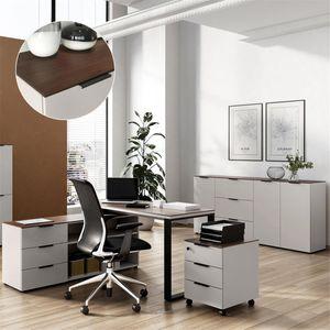 Büromöbel Set Winkelschreibtisch mit Sideboard CHOLET-01 Kaschmir beige mit Nussbaum Nb.