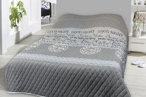 Tagesdecke 240x220 cm Bettüberwurf Sofaüberwurf Doppelbett gesteppt wattiert silber schwarz Schriftzüge