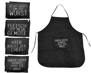 4er Set Lustige Kochschürze mit Spruch |  Latzschürze Grillschürze Schwarz |  Küchenschürze Backschürze | Schürze Polyester