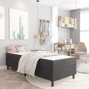Eleganter- Boxspringbett,Bettgestell,Schlafzimmerbett Einzelbett,Single Bett,Jugendbett für Erwachsene Dunkelgrau StoffKing Size:100x200 cm🌾4713