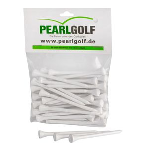 10 x PearlGolf Golftees 83mm aus Holz - weiß