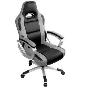 Gaming Stuhl Bürostuhl Schreibtischstuhl Drehstuhl Höhenverstellbarer Gaming Sessel PC Stuhl Ergonomisches Chefsessel Grau
