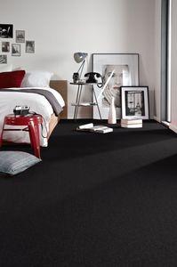 Einfarbiger Teppich Eton für Zimmer, Wohnzimmer, Schlafzimmer, Teppichboden Auslegware, Verschiedene Größen, 200x200 cm schwarz