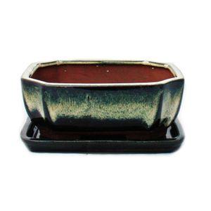 Bonsai-Schale mit Unterteller Gr. 2 - Sonderglasur mit edlem Farbverlauf-Effekt - rechteckig G117 - schwarz-weiss - L 15,8cm - B 12,5cm - H 6cm