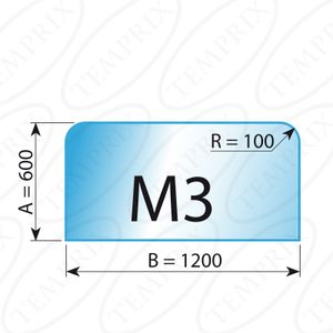 Kaminbodenplatte Transparent Form M3  600 x 1200 x 6mm - Version ECO (Tragkraft bis 550 Kg)
