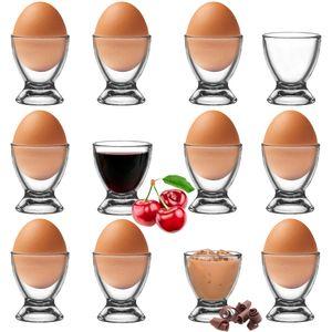 Platinux Eierbecher Set aus Glas 12-Teilig, Eierständer Frühstück Egg-Cup