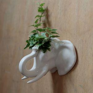 Elefant Kopf Wandvase aus Keramik