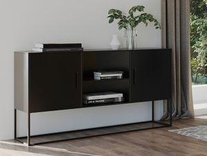 HOMEXPERTS Sideboard RICH, aus Metall, Breite 120 cm, Kommode in schwarz