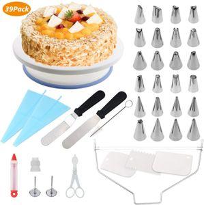 Tortenplatte Drehbar Tortenständer Kuchen Drehteller Cake Decorating Turntable mit Zuckerguss, Spritzbeutel und Tipps-Set, Vereisungsspachtel und glatter, Gebäckwerkzeug